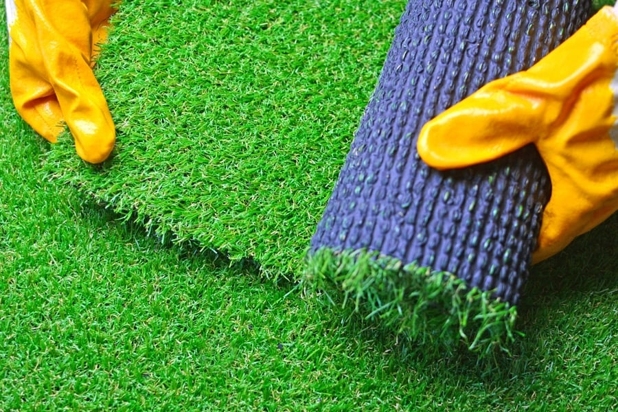 Artificial turf laying by a landscaper in Derby