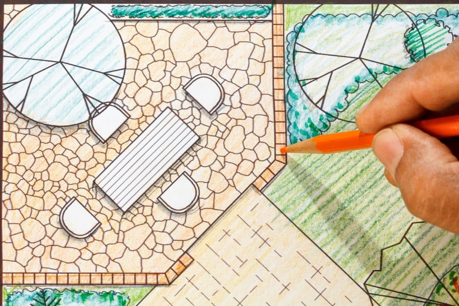 A garden plan designed by a garden architect with a patio, furniture, a walkway and sofscaping