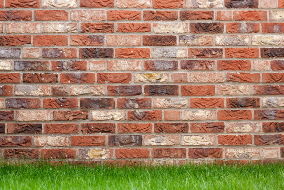 Picture of a garden wall where different types of red bricks were used