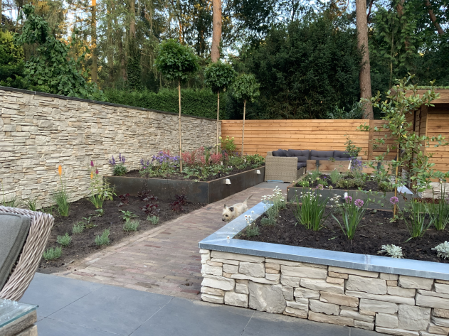 Picture of a newly designed garden where flower boxes are made out of steel, aluminium and stone strips. New plants were just placed in these boxes